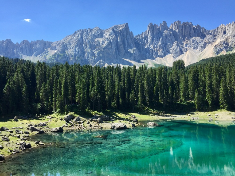 view of Dolomites ridge from the Karersee, the sea of rainbows